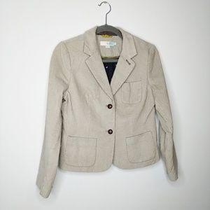 Boden corduroy oxford taupe blazer size 4 Petite